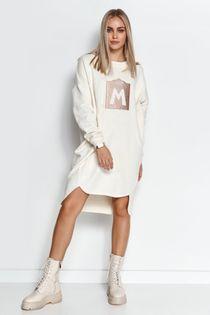 Dresowa szeroka bluza sukienka bez kaptura kremowa rozmiar uniwersalny