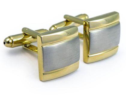 Srebrno-złote kwadratowe spinki do mankietów  N95