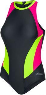 Kostium pływacki NINA Rozmiar - Stroje damskie - 38(M), Kolor-Nina - 338-szary/różowy/fluo żółty