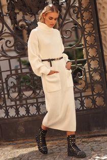 Długa sukienka damska swetrowa z golfem i kieszeniami ECRU