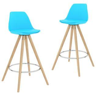 Stołki barowe, 2 szt., niebieskie, PP i lite drewno bukowe