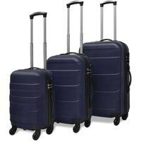 3 Walizki podróżne z twardą obudową na kółkach niebieskie VidaXL