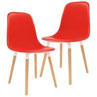 Krzesła do jadalni 2 szt. czerwone plastik VidaXL