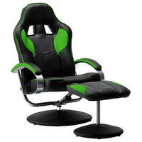 Rozkładany fotel dla gracza z podnóżkiem, zielony, ekoskóra