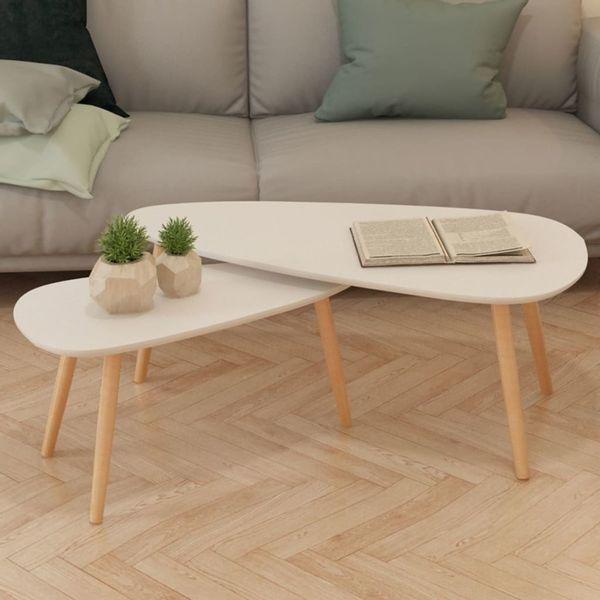 Stolik Stół Kawowy Do Salonu Drewniany 2szt Białe