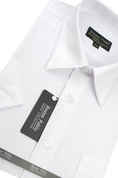Koszula Męska Boston Public gładka biała na krótki rękaw  Jk3y8