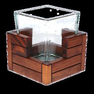 Duży Drewniano-szklany Wazon na Kwiaty. Wooden Manufacture. Producent.