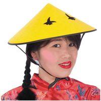 żółta CZAPKA chinka CHIŃCZYK chińczyka z warkoczem