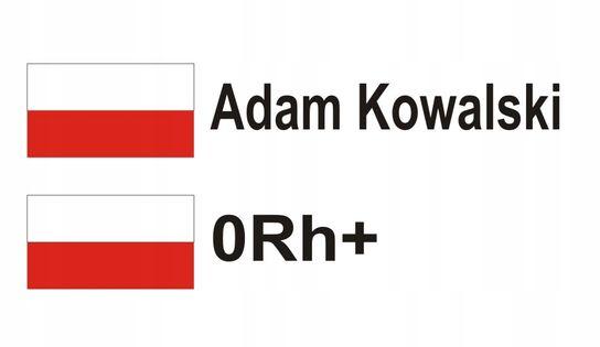 Naklejki na KASK Flaga Imię Nazwisko + GRUPA KRWI