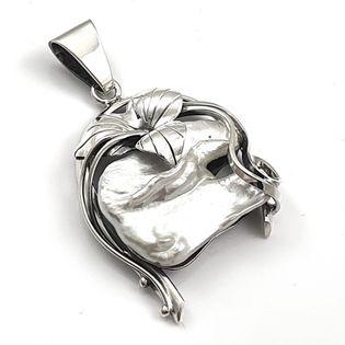 Wisior srebrny artystyczny z perłą Biwa