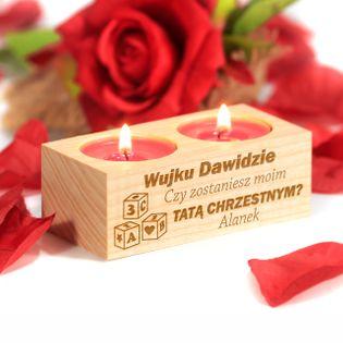 Drewniany świecznik PROŚBA dla Chrzestnych CHRZEST
