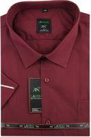 Duża Koszula Męska Laviino gładka bordowa duże rozmiary na krótki rękaw K703 6XL 50 182/188