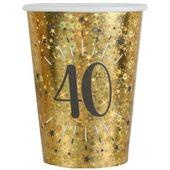 Kubeczki papierowe 40 URODZINY złote HOLO 10 szt