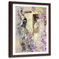 Obraz w ramie brązowej, Kobieta w stroju kąpielowym abstrakcja 40x60