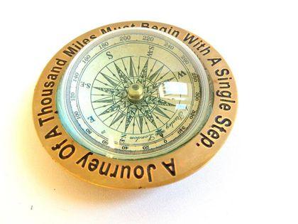Mosiężny kompas soczewkowy DREAM - COM-0369, 10x10x4cm