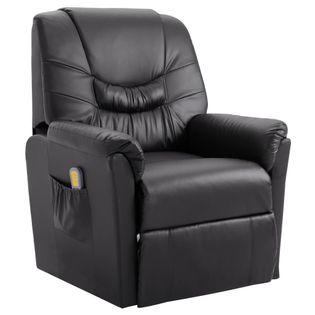 Elektryczny fotel do masażu, z regulacją, szary, ekoskóra