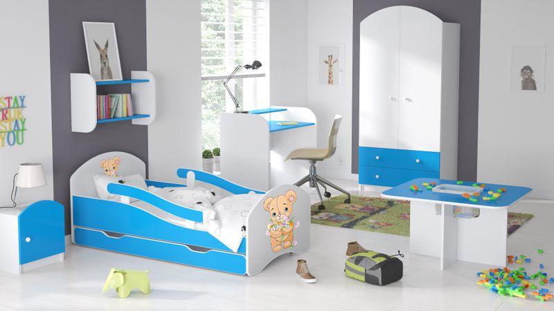 Łóżko dziecięce 180/80 niebieskie szuflada materac dla chłopca na Arena.pl