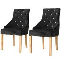 Krzesła Do Jadalni, 2 Szt., Drewno Dębowe I Czarny Aksamit