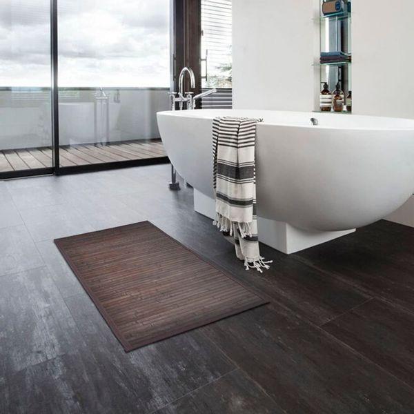 Mata Prysznicowa łazienkowa Bambusowa 40x50cm Brązowa