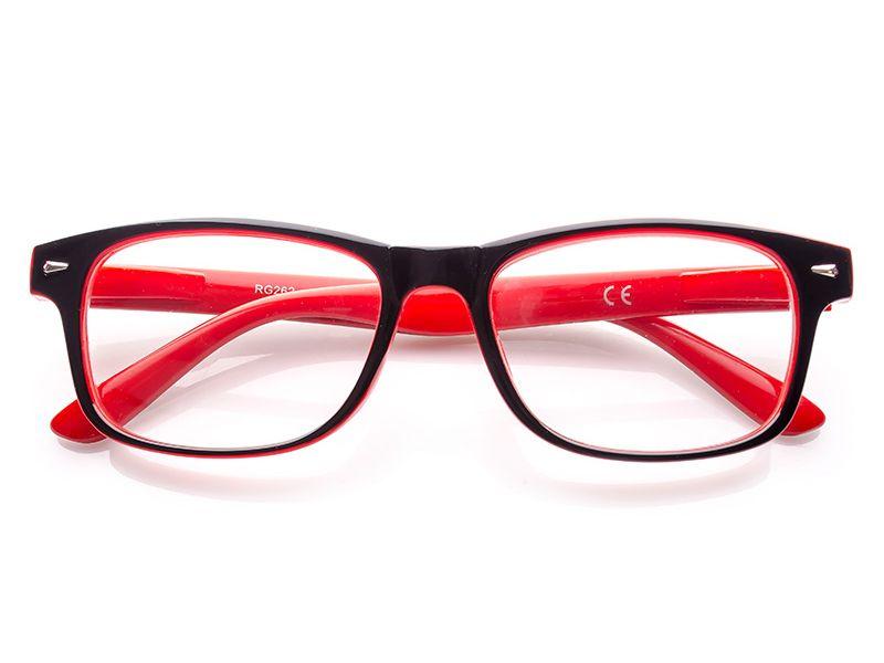 3c24e776f125 Okulary korekcyjne czarno-czerwone plusy +3