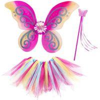 STRÓJ kolorowa WRÓŻKA motyl TUTU skrzydła RÓŻDŻKA