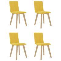 Krzesła stołowe, 4 szt., musztardowe, tapicerowane tkaniną