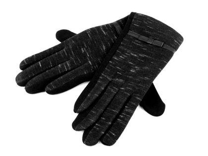 Rękawiczki damskie z dzianiny czarne roz. M