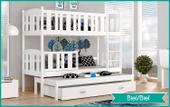 Łóżko piętrowe KUBUŚ 3 COLOR  190x80 + szuflada+ materace