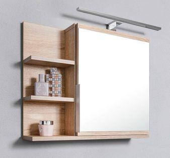Szafka z lustrem z oświetleniem LED dąb sonoma szafka łazienkowa, L