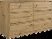 Komoda pojemna 6 szuflad 120cm Dąb artisan
