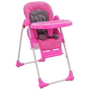 Krzesełko do karmienia różowo-szare