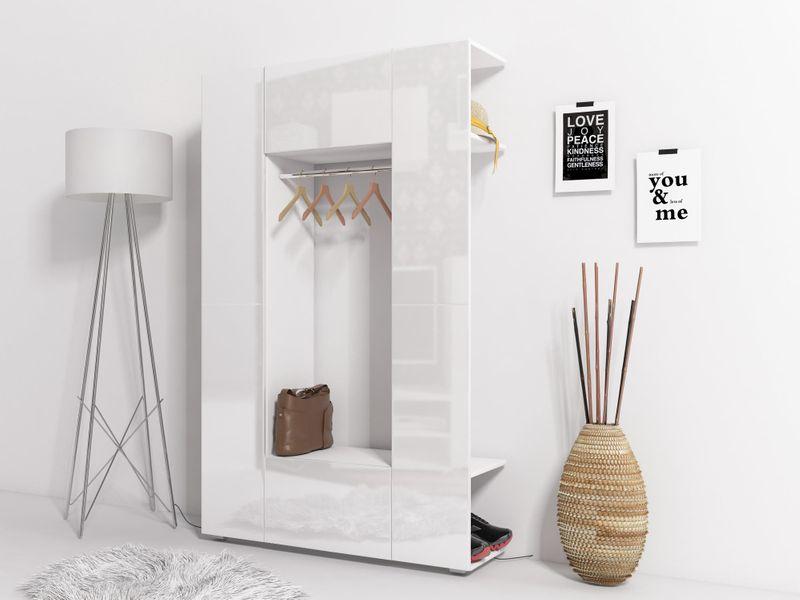 Elegancka Garderoba Cube 3 Do Przedpokoju Biały Biały Połysk