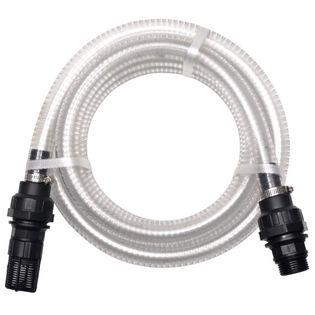 Wąż ssący ze złączkami, 7 m, 22 mm, biały