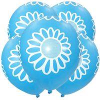Balony BŁĘKITNE kwiatki stokrotki 5 szt