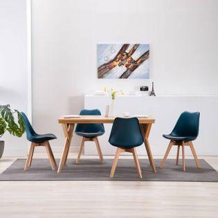 Lumarko Krzesła stołowe, 4 szt., turkusowo-czarne, sztuczna skóra