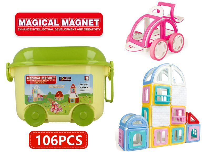 Edukacyjne klocki magnetyczne MAGICAL MAGNET no.724 106 elementów Y39 zdjęcie 11