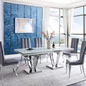 Stół glamour Belmont - stal blat kamienny nowoczesny - 200 x 100 x 75