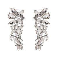 Kolczyki srebrne listki wiszące długie crystal