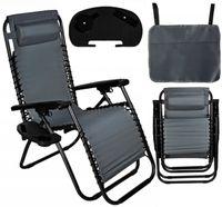 Fotel Ogrodowy składany leżak plażowy Trzypoziomowy + Uchwyt D445