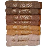 Komplet ręczników kąpielowych 50x100 cm 8 szt.  (wzór: kwiaty; kolor:  odcienie brązu)