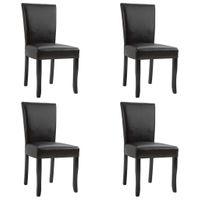 Krzesła stołowe 4 szt. ciemny brąz sztuczna skóra VidaXL