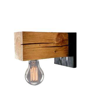 Kinkiet drewniany lampa loft loftowy scienna industrialna