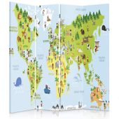 Parawan pokojowy, Mapa świata dla dzieci 145x150