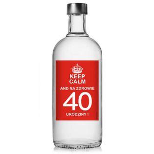 """Etykieta na butelkę """"Urodziny 40 Keep Calm"""", 85x120 mm, 5 szt"""
