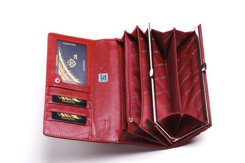 Portfel skórzany damski Zagatto czerwony w liście RFID ZG-100 Leaf zdjęcie 5