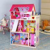 Drewniany domek dla lalek Rezydencja malinowa z windą +2 lalki 90cm