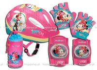 Kask rowerowy Myszka Minnie Mouse ochraniacze, rękawiczki, pokrowiec