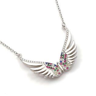 Naszyjnik rodowany skrzydła anioła kolorowy