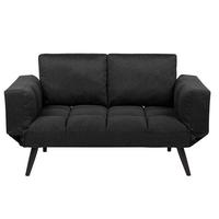 Sofa Rozkładana Tapicerowana Czarna Brekke