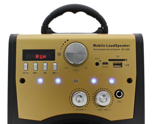 Głośnik Miniwieża Boombox 60W LED Bluetooth + Mikrofon RX-S50 G208Z zdjęcie 5